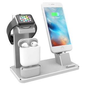 XUNMEJ Watch Stand for Apple iPhone Charging Dock Aluminum 4 in 1 AirPods Charging Stand Accessories Station Holder for Apple Watch Series 2/1 AirPods iPhone 7 7plus 6s 6plus iPad Mini (Silver)