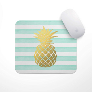 Mint Stripe Gold Metallic Pineapple - Gold Foil (Print) Pineapple Mouse Pad, Pineapple Planner Accessories, Glitz Mouse Pad Mint and White Stripes Watercolor Mouse Pad Personalized Mouse Pad