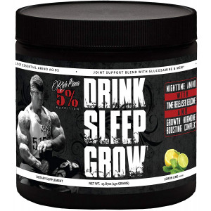 Rich Piana 5% Nutrition Drink Sleep Grow Nighttime Aminos (Lemon Lime) 30 Servings 15.87oz (450g)