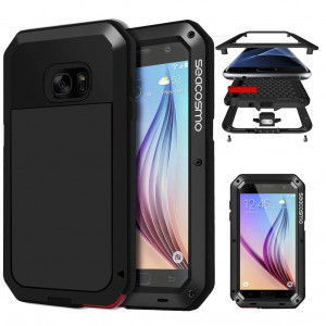 Galaxy S6 Case with Screen Protector, Seacosmo Full Body Rugged Armor Aluminum Metallic Shockproof Scratch-Resistant Dual Layer TPU Bumper Case for Samsung Galaxy S6, Black