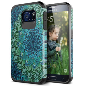 Galaxy S6 Case, SmartLegend 2 in 1 Hybrid Dual Layer Heavy Duty Protection Impact Resist Armor Protective Case with Shockproof Rubber Bumper for Samsung Galaxy S6 - Lotus Flower