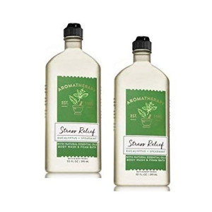 Bath and Body Works 2 Pack Aromatherapy Stress Relief Eucalyptus and Spearmint Shower Gel. 10 Oz.
