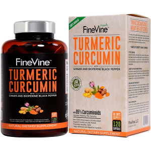 Turmeric Curcumin with BioPerine Black Pepper and Ginger - Made in USA - 120 Vegetarian Capsules for Advanced Absorption, Cardiovascular Health, Joints Support and Anti Aging Supplement (120 Capsules)
