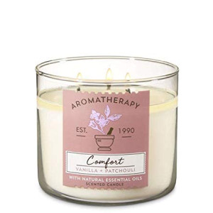 Bath and Body Works White Barn Aromatherapy Comfort Vanilla Patchouli Candle 3 Wick 14.5 Ounce