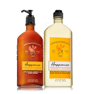 Bath and Body Works HAPPINESS - Bergamot and Mandarin Body Wash and Foam Bath and Lotion Set