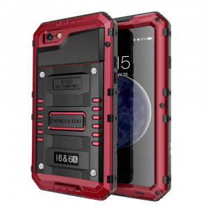 6S / 6 Case Waterproof with Built-in Screen Protector, 360 Full Body Protective Cover, Military Grade  Rugged Heavy Duty Shell, Shckproof Drop Resistant Defender for Outdoor Sport, Red