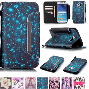 Galaxy S6 Case,Firefish [Kickstand Feature] Durable Leather Flip Folio Wallet Case with Card Slot and Anti-scratch Protective Cover for Samsung Galaxy S6