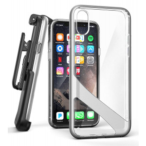 iPhone X Belt Clip Case w/Screen Protector, Encased [Reveal Series] Premium Clear Back Cover with Holster Clip for Apple iPhoneX/iPhone Xs (2017/2018 Release) Crystal Silver