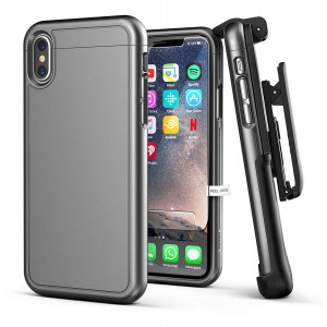 iPhone X/iPhone Xs Belt Case w/Screen Protector, Encased [SlimShield Series] Protective Grip Case with Holster Clip for Apple iPhoneX (2017 Release) Gunmetal Grey