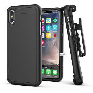 Encased iPhone X Belt Case w/Screen Protector [SlimShield Series] Protective Grip Case with Holster Clip for Apple iPhoneX/iPhone Xs (2017/2018 Release) Smooth Black