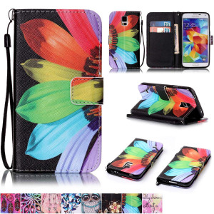 Galaxy S5 Case,Firefish [Kickstand] [Card/Cash Slots] Durable Leather Full Body Protection Wallet Case with Magnetic Closure Wrist Strap for Samsung Galaxy S5