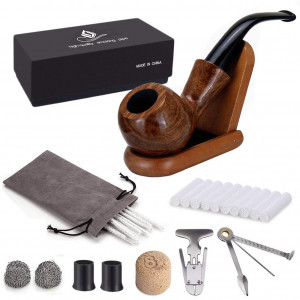 Joyoldelf Rosewood Tobacco Pipe Set with Wooden Stand, Reamer and 3-in-1 Pipe Scraper, 20 Pipe Cleaners and Pipe Filters, 2 Pipe Bits and Metal Balls, Cork Knocker, Pipe Pouch, Bonus a Gift Box (set1)