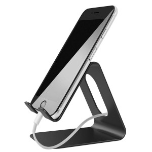 Cell Phone Stand, Lobkin Metal PhoneTablet Cradle, Holder, Stand,for iPhone 8 X 7 6 6s Plus 5 5s 5c Charging, Accessories Desk, All Android Smartphone, iPad Stand, (Updated Solid Version), Black