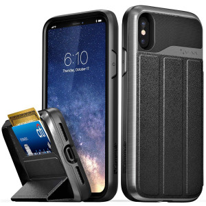 """Vena iPhone Xs/X Wallet Case, [vCommute][Military Grade  Drop Protection] Flip Leather Cover Card Slot Holder with Kickstand Compatible with Apple iPhone Xs 2018 / X 2017 5.8"""" (Space Gray/Black)"""