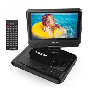 """TENKER 9.5"""" Portable DVD Player with Swivel Screen, Rechargeable Battery and SD Card Slot and USB Port, Black"""
