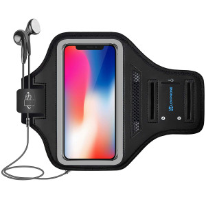 LOVPHONE iPhone X/XS Armband Sport Running Exercise Gym Sportband Case for iPhone X/iPhone Xs,with Key Holder and Card Slot,Water Resistant and Sweat-Proof(Gray)