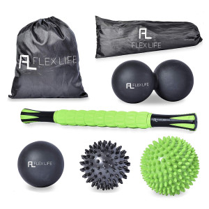 """Flex Life Massage Ball Set and Muscle Roller Stick Massager - 2 Spiky Ball, 1 Lacrosse Ball, 1 Peanut Ball, (1) 18"""" Roller Stick. Great Rollers For Plantar Fasciitis, Mobility, Recovery, Soreness"""