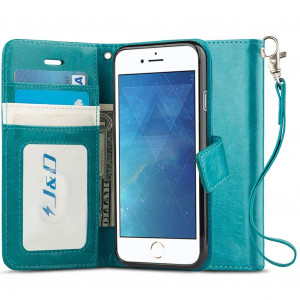 iPhone 8 Plus/iPhone 7 Plus Case, JandD [RFID Blocking Wallet] [Slim Fit] Heavy Duty Protective Shock Resistant Flip Cover Wallet Case for Apple iPhone 8 Plus, Apple iPhone 7 Plus - Aqua