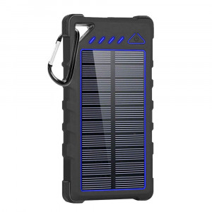 Solar Charger, 16000mAh Portable Solar Power Bank with IPX7 Waterproof Function, External Solar Panel Battery Pack Phone Charger with 4 LED Flashlights Compatable for iPhone X/7 Plus, Samsung S9Note 8