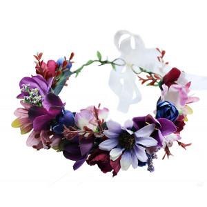Vivivalue Handmade Flower Wreath Headband Halo Floral Hair Garland Crown Headpiece with Ribbon Boho Festival Wedding