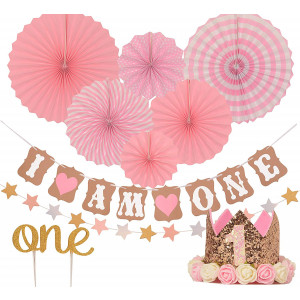 "FIRST BIRTHDAY DECORATION SET FOR GIRL- 1st Baby GIRL Birthday Party, Stars Paper Garland, Gold Cake Topper""One"", Pink Banner, Pink Fiesta Hanging Paper Fan Flower, Pink Baby Hat (Pink)"