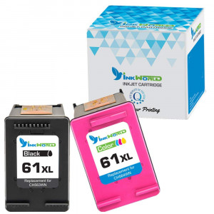 InkWorld Remanufactured Ink Cartridge Replacement Used on 61 61XL Combo High Yield (1 Black, 1 Color) in Envy 4500 5530 5534 5535, Deskjet 1000 1010 1512 3050, Officejet 4630 2620 4632