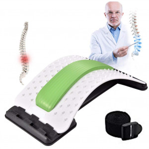 Back Stretcher - Lower and Upper Back Pain Relief, Lumbar Stretching DevicePosture Corrector - Back Support for Office Chair | Get Muscle Tension (White/Green)