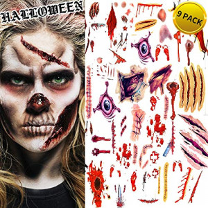 Halloween Tattoos, Scar Wound Temporary Tattoo, 9 Pack Waterproof Horror Realistic Fake Bloody Injury Stitch Scar, Scar Makeup Bleeding Wound Blood for Party Prop, Zombies Cosplay Costume