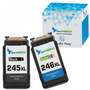 InkWorld PG-245XL CL-246XL Remanufactured High Yield Ink Cartridge Compatible with Pixma MG2522 MX492 MG2520 MG2920 MG2420 MX490 MG2525 MG2555 MG3020 - Show Accurate Ink Level (1 Black,1 Color)