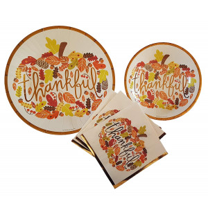 Fall Theme Party Supplies Thankful Pumpkin Thanksgiving Party Supplies 20 count Extra Large Paper Plates, Dessert Plates and Large Napkins