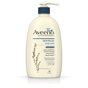 Aveeno Skin Relief Fragrance-Free Body Wash with Oat to Soothe Dry Itchy Skin, Gentle, Soap-Free and Dye-Free for Sensitive Skin, 33 fl. oz