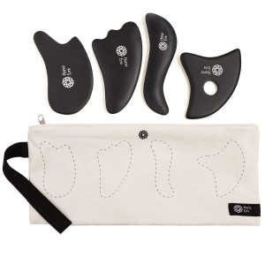 4 Gua Sha Scraping Massage Tools with Smooth Edge  High Quality Handmade Sibin Bian Stone Set  Face and Body  Best Physical Therapy Tool  Trigger Point Treatment  Storage Bag  E-Book Bonus