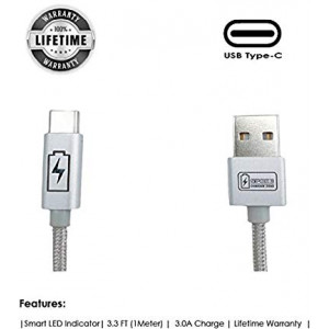 Type C - USB Cable by SPEED CHARGER ZONE | (Silver) | Smart LED Indicator, Fast Charging, Nylon Braided, Compatible w/ Samsung Galaxy S9/S8/Note, Pixel 2/3/XL, LG V30S/G6, HTC U11, Moto X/Z/2 and more
