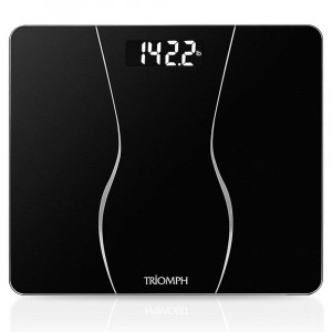 Triomph Smart Digital Body Weight Bathroom Scale with Backlit Shine Through Display, 400 lbs Capacity and Accurate Weight Measurements (Black)