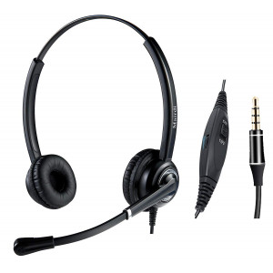Cell Phone Headset with Nosie Cancelling Mic 3.5mm Jack for Apple iPhone Samsung BlackBerry Androids with Mic Mute Volume Control for Smart Phone Light Weight and Adjustable Headband