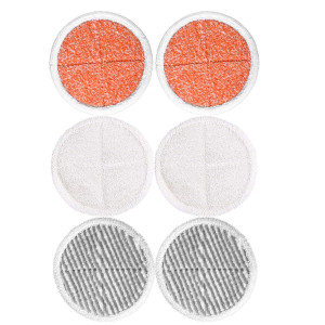 KEEPOW 6 Pack Mop Pads Replacement for Bissell Spinwave 2039A 2124 (Included 2 Soft Pads+2 Scrubby Pads+2 Heavy Scrub Pads)