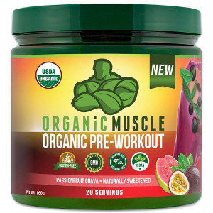 ORGANIC MUSCLE #1 Rated Organic Pre Workout Powder  All Natural Vegan Keto Preworkout and Organic Energy Supplement for Men and Women - Non-GMO, Paleo, Gluten Free, Plant Based  Passionfruit Guava- 160g