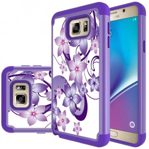 Samsung Galaxy Note 5 Case,Yiakeng Shock Absorbing Dual Layer Protective Fit Armor Phone Case Cover Shell for Samsung Galaxy Note 5 (Purple Flower)
