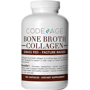 Organic Multi Bone Broth Collagen Capsules, 180 Count  On-The-Go Protein Supplement  Joint Comfort, Flexibility and Cartilage Health