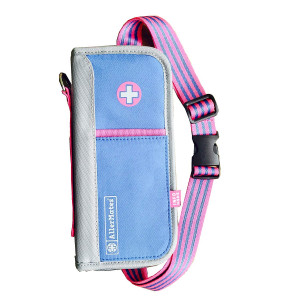Allermates Deluxe Insulated Medicine Case (Preppy: Periwinkle/Pink)