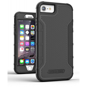 """iPhone 8 Tough Case w/Built in Screen Protector, American Armor (Heavy Duty) Rugged Hybrid Case for Apple iPhone8 4.7"""" [Military Grade  Protection] (Black)"""