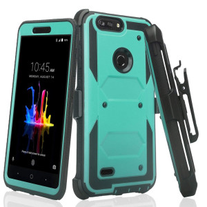 GALAXY WIRELESS For ZTE ZFive G LTE Z557BL/ZTE ZFive C Z558VL/ZTE Avid 4/ZTE Fanfare 3/ZTE Blade Vantage/ZTE Tempo X/Tempo Go, Belt Clip Holster [Built In Screen Protector] Full Body Case - Teal