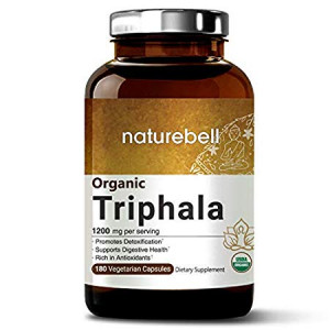 Maximum Strength Organic Triphala 1200mg, 180 Veggie Capsules, Powerfully Supports Digestive Health and Detoxification, Rich in Antioxidants and Vitamins, Non-GMO, Vegan Friendly and Made in USA