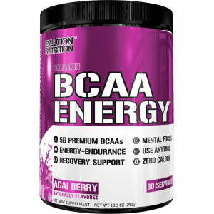 Evlution Nutrition BCAA Energy - High Performance, Energizing Amino Acid Supplement for Muscle Building, Recovery, and Endurance (Acai Berry, 30 Servings)