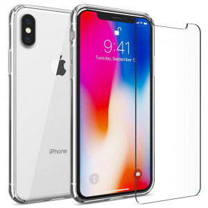 FlexGear iPhone X XS (NOT for Max) Clear Case Hard Back TPU Bumper + Glass Screen Protector, Designed for iPhone X/XS (Clear)
