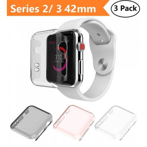 Apple Watch Series 2 and Series 3 Case 42mm, Monoy New [3 Pack] [Ultra Thin] Slim HD PC Screen Protector Protective Cover for iWatch 2 iwatch 3 42mm (Series 2/3 42mm)