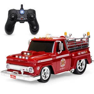Best Choice Products 2.4 GHz Remote Control Fire Engine Truck w/ Lights, Rechargeable Batteries, USB Cable - Red/Black