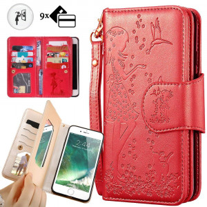 iPhone 8 Plus Purse Case,iPhone 7 Plus Wallet Case,Auker Trifold 9 Card Holder Vintage Book Leather Folio Flip Magnetic Protective Wallet Case with MirrorandCash Pocket for iPhone 7 Plus/8 Plus(Red)
