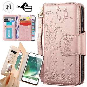 iphone 8 Plus Purse Case,iphone 7 Plus Wallet Case,Auker Trifold 9 Card Holder Vintage Book Leather Folio Flip Magnetic Protective Wallet Case with MirrorandCash Pocket for iphone 7 Plus/8Plus Rose Gold
