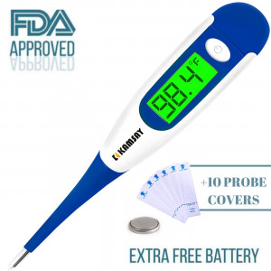 Best FDA Digital Medical Thermometer,Easy Accurate and Fast 10 Second Read Fever Body Temperature, Flexible Tip,Waterproof for Baby,Kids, Adults, Pets,Oral, Underarm, Rectal Termometro (Blue)